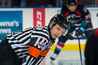 KELOWNA, CANADA - OCTOBER 3: Referee Troy Paterson  on October 3, 2018 at Prospera Place in Kelowna, British Columbia, Canada.  (Photo by Marissa Baecker/Shoot the Breeze)  *** Local Caption ***