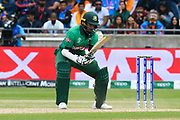 Shakib Al Hasan (vc) of Bangladesh digs out a yorker bowled by Jasprit Bumrah of India which bounces up towards his head during the ICC Cricket World Cup 2019 match between Bangladesh and India at Edgbaston, Birmingham, United Kingdom on 2 July 2019.