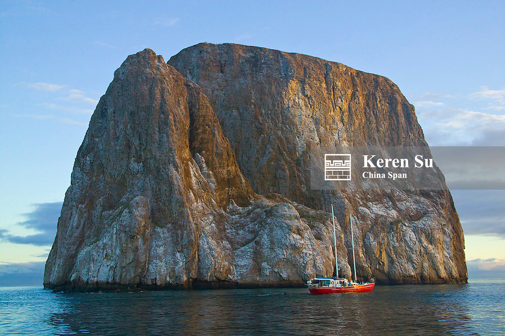 Yacht with Kicker Rock near San Cristobal, Galapagos islands, Ecuador