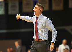 MOON TOWNSHIP, PA - NOVEMBER 11:  Head Coach Andrew Toole of the Robert Morris Colonials yells instructions to his players in the second half during the game against the Pennsylvania Quakers on November 11, 2016, at the Charles L. Sewall Center in Moon Township, Pennsylvania. (Photo by Justin Berl)