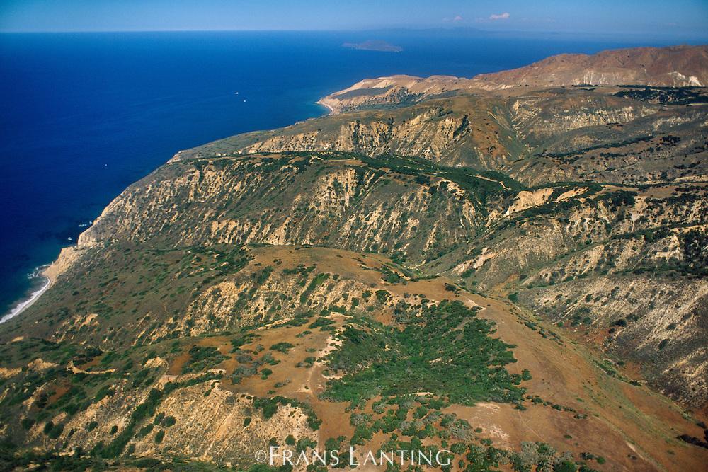 Santa Cruz Island (aerial), Channel Islands National Park, California