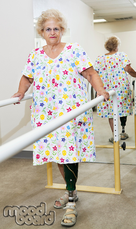 Portrait of a senior woman having ambulatory therapy