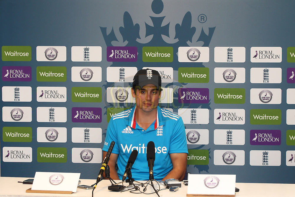 England captain Alastair Cook during the post match press conference after the 5th One Day International ( ODI ) match between England and India held at Headingley Cricket Ground in Leeds, England on the 5th September 2014<br /> <br /> Photo by Shaun Roy / SPORTZPICS/ BCCI