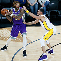08 October 2017: Sacramento Kings center Willie Cauley-Stein (00) passes the ball over Los Angeles Lakers forward Larry Nance Jr. (7) during the LA Lakers 75-69 victory over the Sacramento Kings, at the T-Mobile Arena, Las Vegas, Nevada, USA.