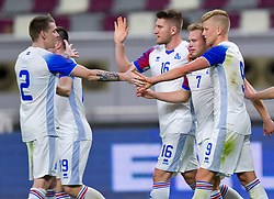 Jon dagger Thorsteinsson (2-R) of Iceland celebrate with his team mate  after scoring the second goal against Sweden during the international friendly soccer match at Khalifa International Stadium in Doha, capital of Qatar, Jan. 11, 2019. The match ended in a 2-2 draw  (Credit Image: © Nikku/Xinhua via ZUMA Wire)