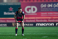 Dragons' Arwel Robson in action during todays match<br /> <br /> Photographer Craig Thomas/Replay Images<br /> <br /> Guinness PRO14 Round 13 - Scarlets v Dragons - Friday 5th January 2018 - Parc Y Scarlets - Llanelli<br /> <br /> World Copyright &copy; Replay Images . All rights reserved. info@replayimages.co.uk - http://replayimages.co.uk
