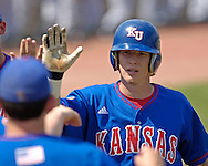 Kansas Jayhawk Jared Schweitzer after hitting a solo home run to tie the game at two in the top of the fifth inning.  The Kansas State Wildcats held on to beat Kansas 5-4 at Tointon Stadium in Manhattan, Kansas, April 23, 2006.