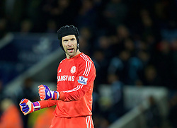 LEICESTER, ENGLAND - Wednesday, April 29, 2015: Chelsea's goalkeeper Petr Cech celebrates after his side's 3-1 victory over Leicester City during the Premier League match at Filbert Way. (Pic by David Rawcliffe/Propaganda)