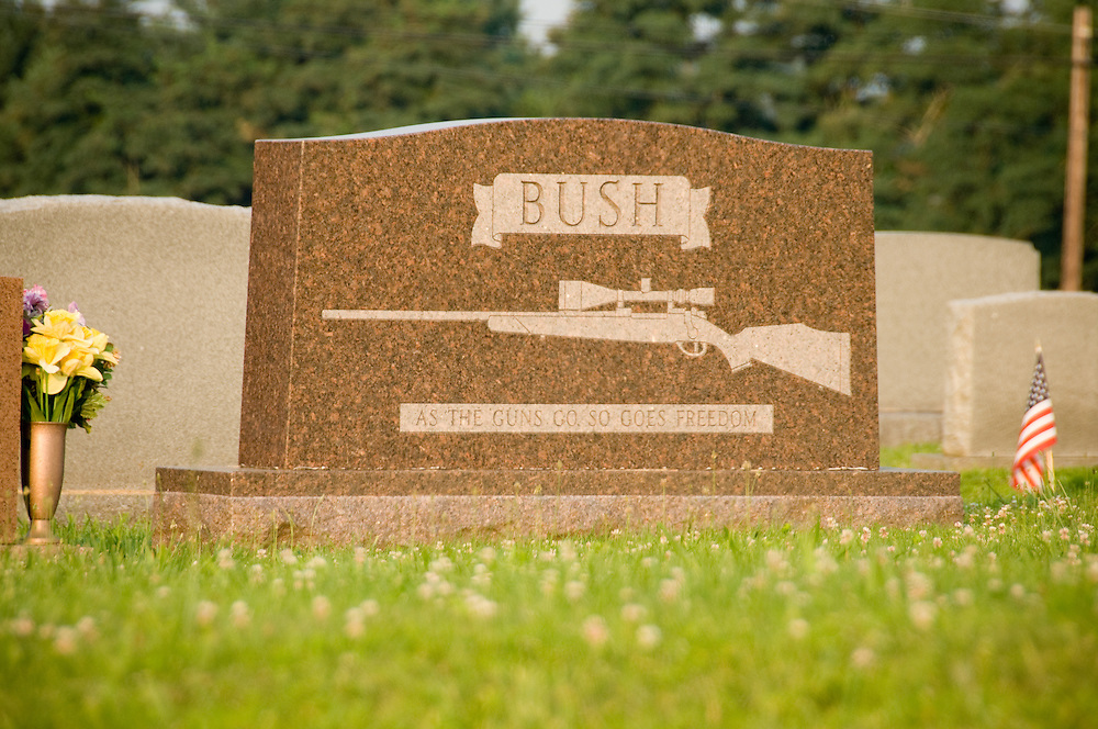 Headstone with gun