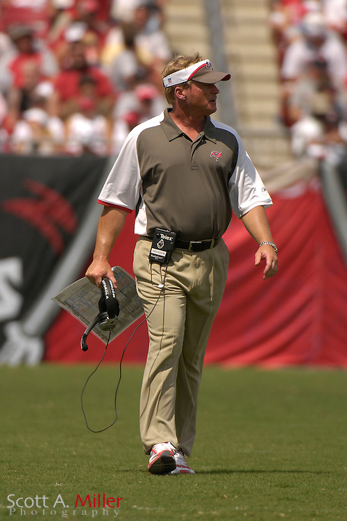 September 16, 2007; Tampa, FL, USA; Tampa Bay Buccaneers coach Jon Gruden during his team's game against the New Orleans Saints  at Raymond James Stadium. Tampa Bay won the game 31-14....©2007 Scott A. Miller