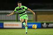 Forest Green Rovers Paul Digby(20) passes the ball forward during the EFL Trophy group stage match between Forest Green Rovers and U21 Arsenal at the New Lawn, Forest Green, United Kingdom on 7 November 2018.