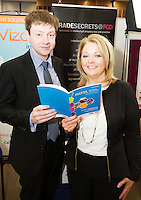 Ian Knight and Laura Myles from sponsors Flynn O'Driscoll Solicitors   at the The SCCUL Entreprise awards and Business Expo in the Bailey Allen Hall in NUIG. Photo:Andrew Downes, xposure