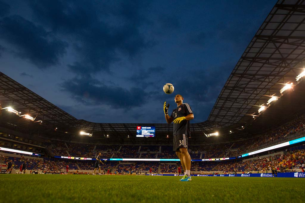 HARRISON, NJ - AUGUST 17:  Luis Robles #31 of New York Red Bulls warms up before  the game against the Philadelphia Union at Red Bulls Arena on August 17, 2013. (Photo By: Rob Tringali)
