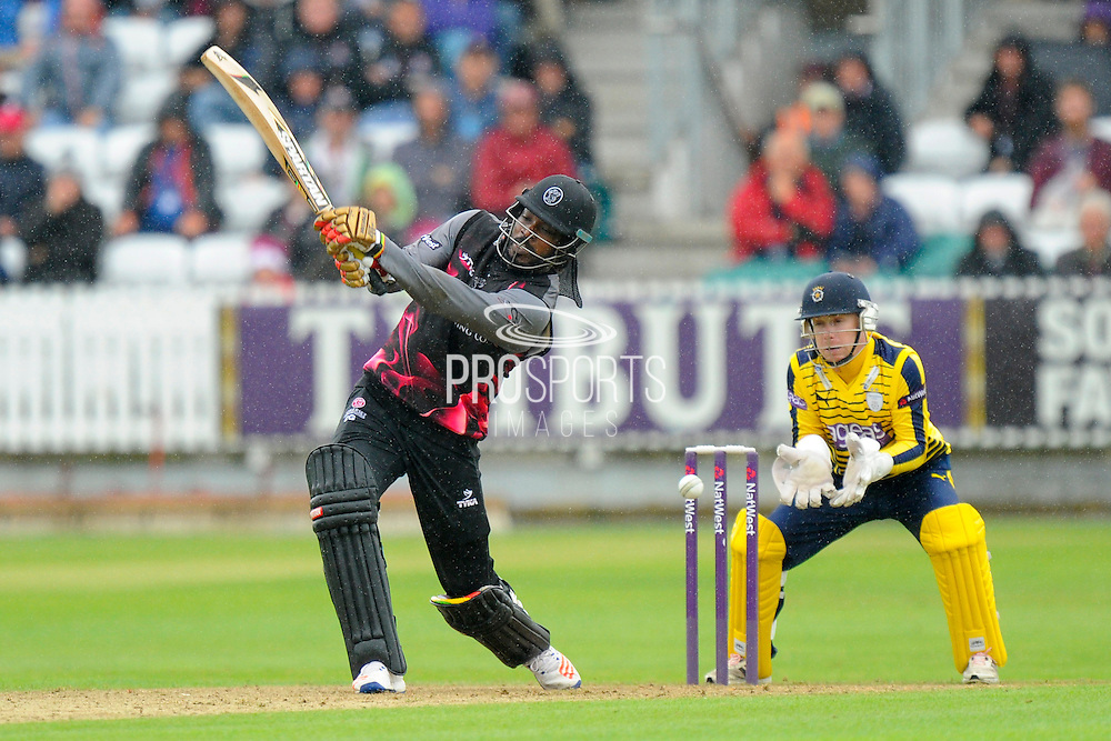 Somerset's Chris Gayle is bowled by Hampshire's Will Smith during the NatWest T20 Blast South Group match between Somerset County Cricket Club and Hampshire County Cricket Club at the Cooper Associates County Ground, Taunton, United Kingdom on 19 June 2016. Photo by Graham Hunt.