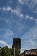 Twelve days after the devastating fire that killed an unspecified number of people in Grenfell Tower, the charred and blackened tower block remains a crime scene, on 26th June 2017, in the London borough of Kensington & Chelsea, England.