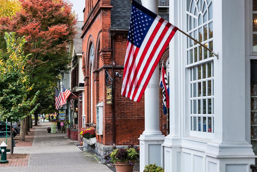 Quaint shops along Main Street, Stockbridge, Massachusetts, USA