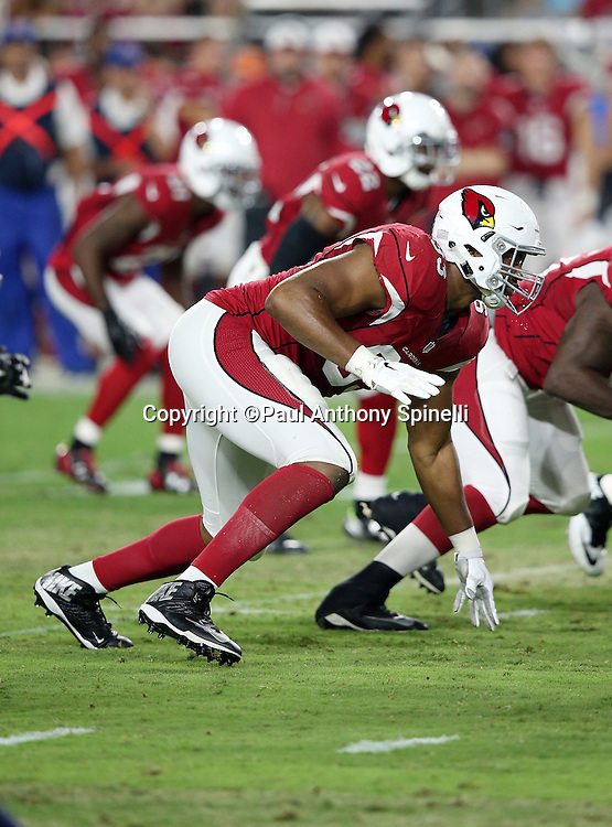 Arizona Cardinals defensive end Calais Campbell (93) chases the action during the 2015 NFL preseason football game against the San Diego Chargers on Saturday, Aug. 22, 2015 in Glendale, Ariz. The Chargers won the game 22-19. (©Paul Anthony Spinelli)