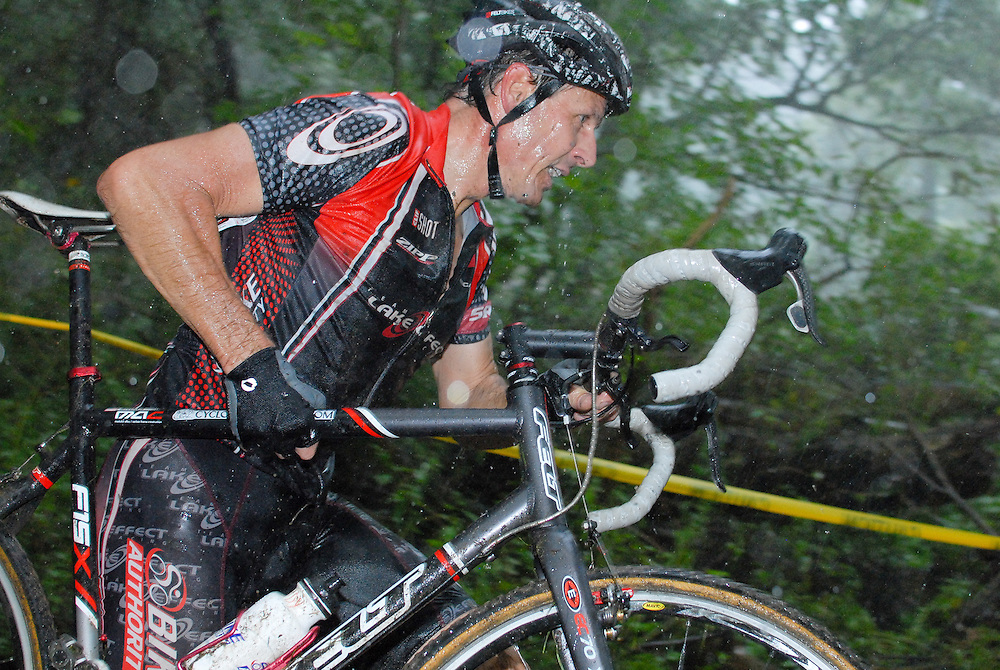 Rudy Sroka battles the rain and mud during the 2011 Elyria, Ohio cyclocross race.