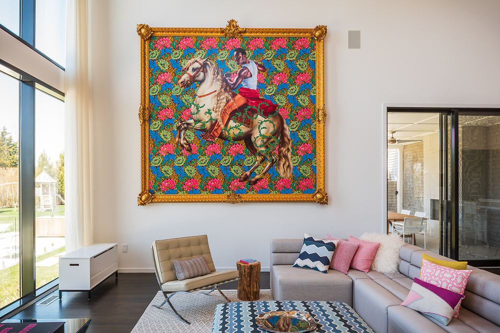 I love this painting, Equestrian Portrait of Prince Tommaso, by   Kehinde Wiley, Lumber Lane, Bridgehampton, NY