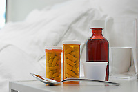 Medication on bedside table, close-up