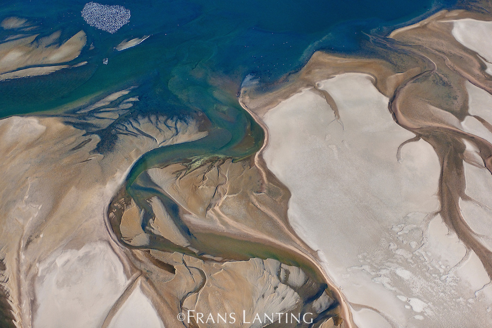 Coastal lagoon (aerial), Sandwich Harbour, Namib-Naukluft National Park, Namibia