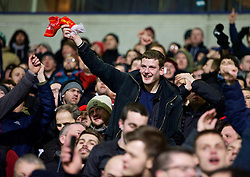 BOLTON, ENGLAND - Wednesday, February 4, 2015: Liverpool supporters celebrate the winning second goal in injury time against Bolton Wanderers during the FA Cup 4th Round Replay match at the Reebok Stadium. (Pic by David Rawcliffe/Propaganda)