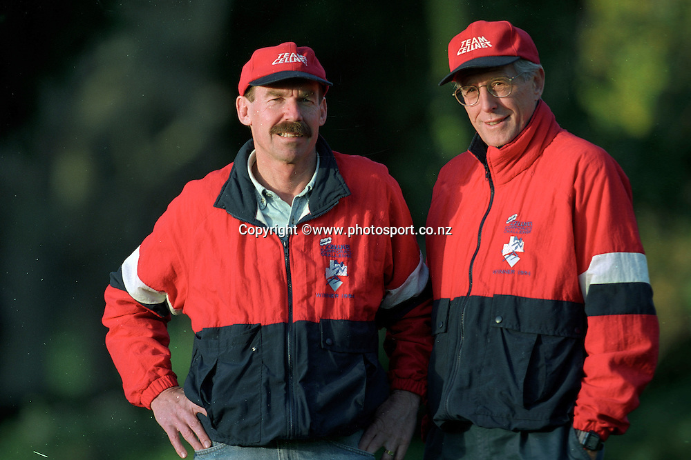 Dick Quax with John Davies at the Cellnet Corporate Challenge 1996. Photo: Andrew Cornaga/Photosport.co.nz