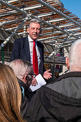 Pictured: Richard Leonard<br /><br />Richard Leonard, leader of Scottish labour, Patrick Harvie, co-leader of the Scotrtish Greens, joined other MSPs and memberes of the RMT union today to protest against Abellio contract. The rail union were demonstrating outside the Scottish Parliament in a call for the termination of privateer Abellio ScotRail's contract.<br /><br />Ger Harley | EEm 2 October 2019