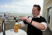 Jimmy Lyons from Ballinaloe at the Budweiser Ice Cold Summer BBQ, broadcast live on the Tony Fenton Show at The Galway Bay Hotel in Salthill. Photo:Andrew Downes.. .Both Duke Special and The Divine Comedy performed at the summer kick-off party and Today FM's Tony Fenton Show broadcast live from the hotel all afternoon...The 150 invited guests included Today FM listeners ad Budweiser Ice Cold Facebook fans from all over the country. Guests also won the chance to win a cool Grand in cash, meet Mr. Iceman and of course enjoy a pint of Budweiser Ice Cold, the coldest pint ever!..Enjoy Budweiser Ice Cold sensibly visit www.drinkaware.ie ..This event was strictly over 18's,..-ENDS-..FOR FURTHER INFORMATION PLEASE CONTACT:.Killian Burns / Aoiffe Madden..Killian.burns@ogilvy.com / aoiffe.madden@ogilvy.com.WHPR..Tel: 01 6690030.