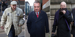 © Licensed to London News Pictures . 15/11/2013 . Manchester , UK . Composite image of three photographs of: L-R William Harper , Alan Ledger and Ray Teret all pictured today (15th November 2013) outside Minshull Street Crown Court in Manchester . Ray Teret (right) , Jimmy Savile 's former chauffeur and flatmate , is charged alongside William Harper (left) and Alan Ledger (centre) with historic sex offences . Photo credit : Joel Goodman/LNP