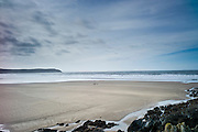 Couple walking their dog on the beach at Woolacombe, North Devon, UK