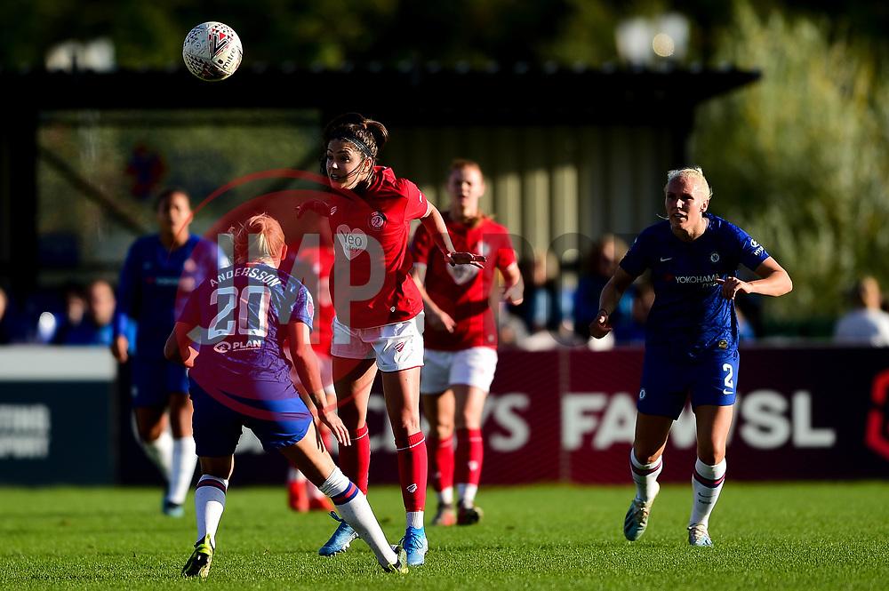 Carla Humphrey of Bristol City is challenged by Jonna Andersson of Chelsea Women - Mandatory by-line: Ryan Hiscott/JMP - 29/09/2019 - FOOTBALL - SGS College Stoke Gifford Stadium - Bristol, England - Bristol City Women v Chelsea Women - FA Women's Super League