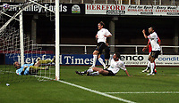 Photo: Mark Stephenson/Sportsbeat Images.<br /> Hereford United v Darlington. Coca Cola League 2. 03/11/2007.Hereford's Richard Rose (no 4 ) scores,but its ruled as off side