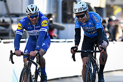 March 21, 2018 - De Panne, BELGIUM - French Remi Cavagna of Quick-Step Floors and Belgian Wout van Aert of Team Sniper cross the finish line of the first stage of the Driedaagse Brugge - De Panne cycling race, 202.4 km from Brugge to De Panne, Wednesday 21 March 2018. BELGA PHOTO DAVID STOCKMAN (Credit Image: © David Stockman/Belga via ZUMA Press)