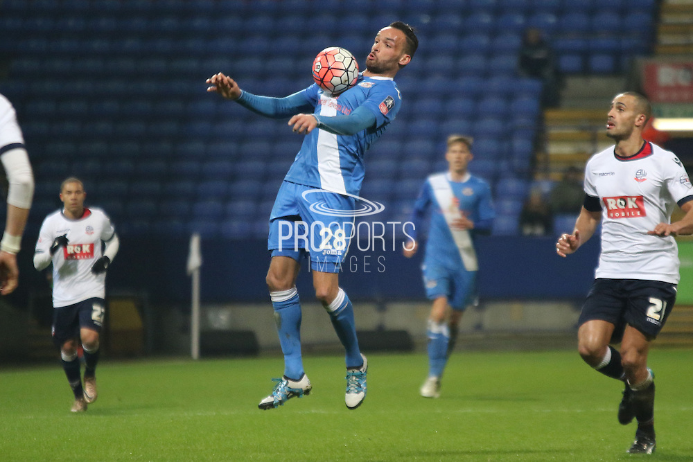 Kaid Mohamed during the The FA Cup Third Round Replay match between Bolton Wanderers and Eastleigh at the Macron Stadium, Bolton, England on 19 January 2016. Photo by Pete Burns.