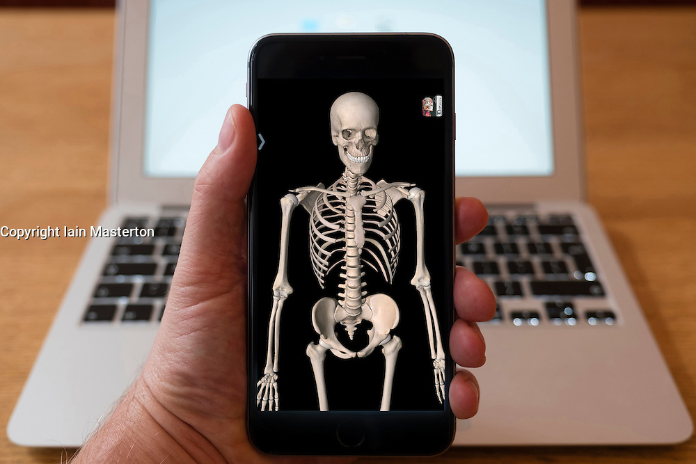 Using iPhone smartphone to display 3D image of human skeleton from anatomy medical education app