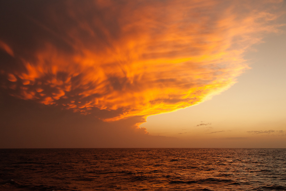 Red sky in the Gulf of Mexico, en route to Alacranes Island
