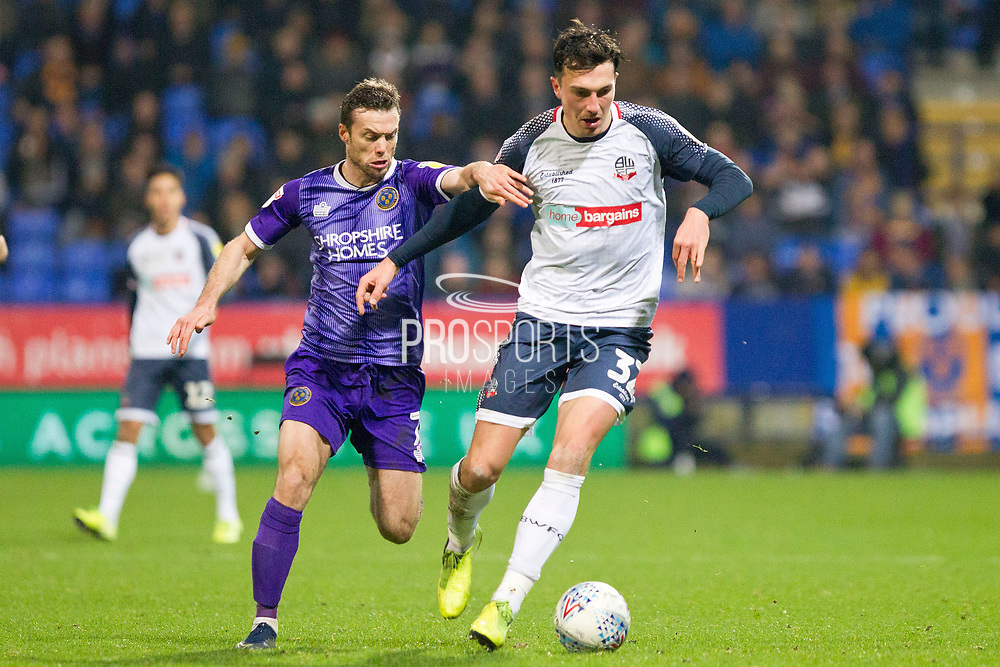 Bolton Wanderers midfielder Finlay Hurford-Lockettb in possession of the ball during the EFL Sky Bet League 1 match between Bolton Wanderers and Shrewsbury Town at the University of  Bolton Stadium, Bolton, England on 29 December 2019.