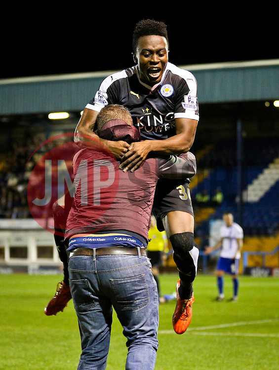Joe Dodoo of Leicester City celebrates with his fans after scoring his sides fourth goal and his hat-trick - Mandatory byline: Matt McNulty/JMP - 07966386802 - 25/08/2015 - FOOTBALL - Gigg Lane -Bury,England - Bury v Leicester City - Capital One Cup - Second Round