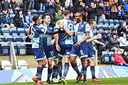 Wycombe Wanderers Midfielder Luke O'Nien (17) celebrates scoring (2-0) during the EFL Sky Bet League 2 match between Wycombe Wanderers and Carlisle United at Adams Park, High Wycombe, England on 3 February 2018. Picture by Stephen Wright.
