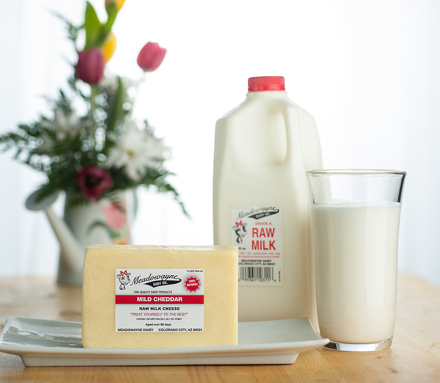 Product shot of raw milk cheese from Meadowayne Dairy in Colorado City, Arizona.<br />