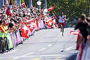 Yared Shegumo from Poland competes in men's marathon during the Sixth Day of the European Athletics Championships Zurich 2014 at Letzigrund Stadium in Zurich, Switzerland.<br /> <br /> Switzerland, Zurich, August 17, 2014<br /> <br /> Picture also available in RAW (NEF) or TIFF format on special request.<br /> <br /> For editorial use only. Any commercial or promotional use requires permission.<br /> <br /> Photo by &copy; Adam Nurkiewicz / Mediasport