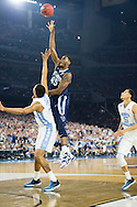 04 APR 2016: Forward Darryl Reynolds (45) of Villanova University shoots over Forward Kennedy Meeks (3) of the University of North Carolina during the 2016 NCAA Men's Division I Basketball Final Four Championship game held at NRG Stadium in Houston, TX. Villanova defeated North Carolina 77-74 to win the national title. Brett Wilhelm/NCAA Photos