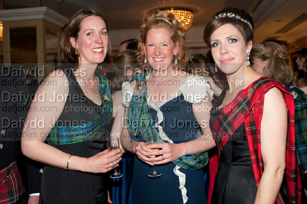 THE DUCHESS OF ARGYLL; MRS. ANTHONY SCOTT; MRS. WILLIAM RAMSAY, The Royal Caledonian Ball 2011. In aid of the Royal Caledonian Ball Trust. Grosvenor House. London. W1. 13 May 2011.<br /> <br />  , -DO NOT ARCHIVE-© Copyright Photograph by Dafydd Jones. 248 Clapham Rd. London SW9 0PZ. Tel 0207 820 0771. www.dafjones.com.