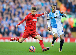 LIVERPOOL, ENGLAND - Sunday, March 8, 2015: Liverpool's Adam Lallana in action against Blackburn Rovers during the FA Cup 6th Round Quarter-Final match at Anfield. (Pic by David Rawcliffe/Propaganda)