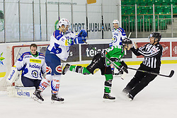 16.01.2015, Hala Tivoli, Ljubljana, SLO, EBEL, HDD Telemach Olimpija Ljubljana vs EC VSV, 39. Runde, in picture Stefan Bacher (EC VSV, #19) and Jure Sotlar (HDD Telemach Olimpija, #33) during the Erste Bank Icehockey League 39. Round between HDD Telemach Olimpija Ljubljana and EC VSV at the Hala Tivoli, Ljubljana, Slovenia on 2015/01/16. Photo by Morgan Kristan / Sportida