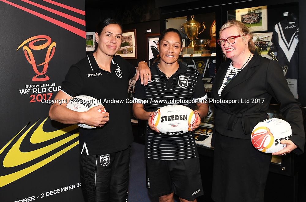Kiwi Ferns captain Sarina Fiso ( centre ) and teammate Sharlene Atai with Rugby League World Cup 2017 General Manager of New Zealand Andrea Nelson (R) promoting the Women's Rugby League World Cup. Auckland, New Zealand. Wednesday 2 August 2017. © COPYRIGHT PHOTO: ANDREW CORNAGA / WWW.PHOTOSPORT.NZ