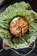 Dry beef curry in lotus leaf (sakhkor saraman) at Malis restaurant, Phnom Penh