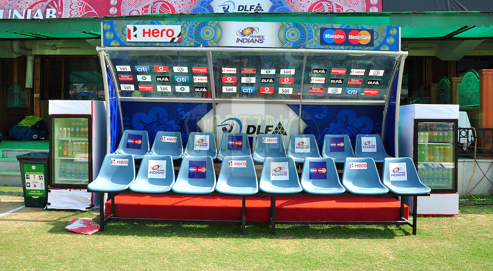 Mumbai Indian dugout  during match 33 of the the Indian Premier League ( IPL) 2012  between The Kings X1 Punjab and The Mumbai Indians held at the Punjab Cricket Association Stadium, Mohali on the 25th April 2012..Photo by Arjun Panwar/IPL/SPORTZPICS