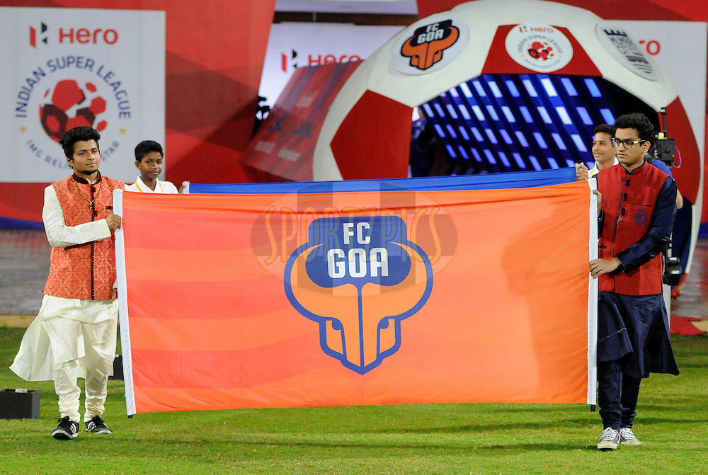 Flag bearers in Manyawar clothes during match 43 of the Indian Super League (ISL) season 2  between Chennaiyin FC and Kerala Blasters FC held at the Jawaharlal Nehru Stadium, Chennai, Tamil Nadu, India on the 21st November 2015.<br /> <br /> Photo by Pal Pillai / ISL/ SPORTZPICS